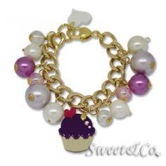 Mini Gold-Violet Cupcake Swarovski Crystal Charm Bracelet Gold - One Size