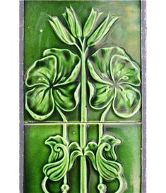 Victorian Fireplace Tiles in Ceramic raised pattern in a brilliant green
