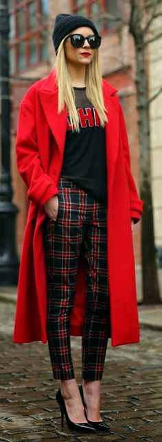 fashion, street style, red, tartan, black