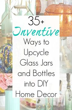 Glass Bottle Crafts and Upcycling Ideas for Glass Jars and Empty Bottles Empty wine bottles and other glass jars and bottles can really add up. And if glass recycling is no longer an option in Empty Glass Bottles, Glass Bottle Crafts, Painted Wine Bottles, Diy Bottle, Bottles And Jars, Decorative Glass Bottles, Crafts With Bottles, Recycled Glass Bottles, Bottle Art