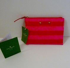 """Kate Spade New York NWT """"York Street"""" Mini Pouch Cosmetic Case Bag Pink & Red #katespade #CosmeticBags"""