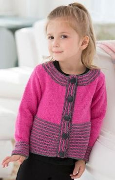 Sweet & Simple Cardigan pattern by Heather Lodinsky This cute cardigan is perfect to make for a little girl who is special in your life. Knit in a bright shade with grey accents, it's a modern look that girls will love! Kids Knitting Patterns, Knitting For Kids, Free Knitting, Crochet Patterns, Knit Cardigan Pattern, Baby Cardigan, Baby Sweaters, Girls Sweaters, Sweaters Knitted