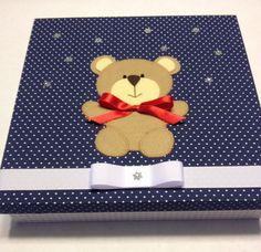 Artesanato | mdf | Caixa Maternidade | poá | ursinho | para bebês