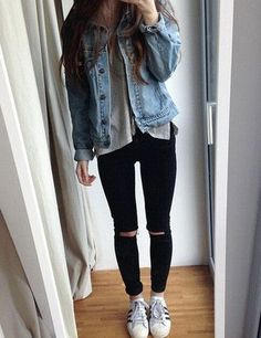 I feel like this is something Tara Michelle would wear. So if you are a fan or subscriber of her then you can look like her. Here we have some classic Superstar Adidas and some signature knee ripped black skinny jeans, Then she has a grey tee with a jean jacket layering over it. If the sleeves are a little too long then roll them up as shown in the picture. If you are going for that Tara Mitchell look still then just have some medium curls in your hair. I really love her vlogs so much…