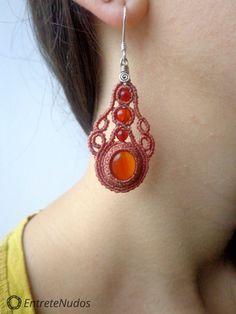 Precious orange macrame earrings with orange Agate por EntreteNudos