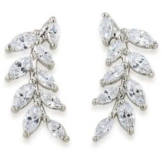 Carolee  Silver-Tone Something Borrowed Ear Climber Pierced Earrings (1.000 UYU) ❤ liked on Polyvore featuring jewelry, earrings, accessories, orecchini, white, sparkle jewelry, silvertone jewelry, carolee earrings, silvertone earrings and silver tone earrings
