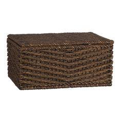 wicker lidded basket for under end table