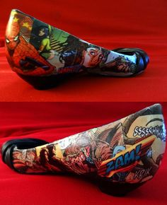 Make your own comic book shoes with decoupge:) spiderman flats for the wedding? Helll yes!!!