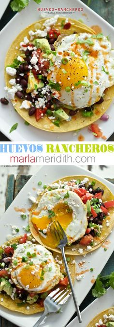 Huevos Rancheros - I would put diced tomato, avocado and onion or just pico de gallo with black beans on top of brisket with an egg