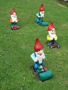 The Gnomes are Descending on the Chelsea Flower Show! Love These Lawn-Mowing Gnomes --> http://www.hgtvgardens.com/photos/decorating-photos/gnomes-descend-on-chelsea?soc=pinterest