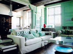 People don't realize gray and mint go nice together, especially for a nice apartment/condo/livingroom