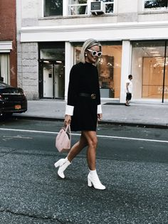 French mini shift dress featuring wide cuffs and a bow with a zip back closure. Best Ankle Boots, White Ankle Boots, Winter Boots Outfits, Fall Outfits, Boot Outfits, City Outfits, Fashion Outfits, Classy Outfits, Casual Outfits
