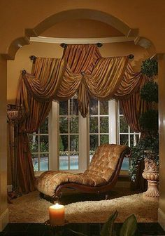 Curtains, blinds, valances and other window treatments are a big part of what makes an apartment a home. - Check Out THE PIC for Lots of Ideas for Creative Window Treatments. Modern Curtains, Luxury Furniture, Window Treatments, Beautiful Curtains, Curtain Decor, Curtains, Home, Tuscan Decorating, Curtain Designs
