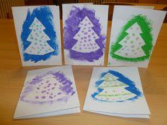 Vánoční přání - tupování přes šablonu + třpytky na Herkules - 1. třída