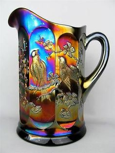 Singing Birds by Northwood Amethyst Carnival Glass Water Pitcher Glass Jug, Fenton Glass, Water Glass, Milk Glass, Blue Carnival Glass, Antique Glassware, Vintage Carnival, Indiana Glass, Glass Collection