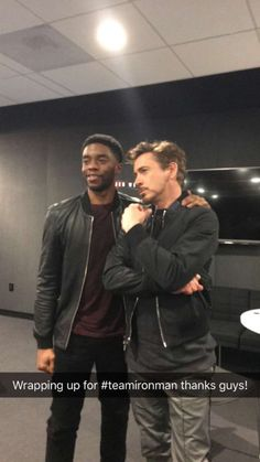 """Chadwick Boseman (Black Panther) and Robert Downey Jr. (Iron Man) at the Buzzfeed """"Captain America: Civil War"""" online Q&A, March 10, 2016."""