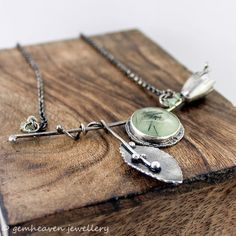 Sterling silver and Prehnite rustic statement by gemheaven on Etsy, £89.00