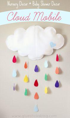 Felt Cloud Mobile: Darling Nursery or Baby Shower Decor.