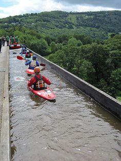 Pontcysyllte Aqueduct, Wrexham, UK. Photo links to an interesting article on water bridges.