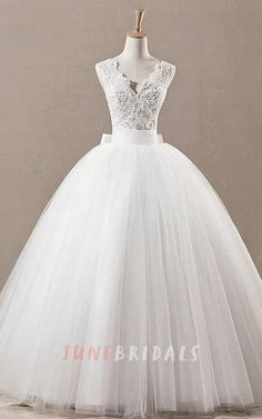 Princess Style Tulle Ball Gown With Beaded Lace Bodice