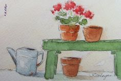 Geraniums On Bench Original Watercolor Painting by RoseAnnHayes