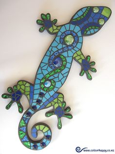 Inge's Gecko in shades of blue & green (her favourite colours) ♥ Mosaic by Colour Happy / Adele.