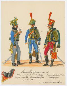Austrian; Hussars, Trumpeters L to R Trumpeter in Tenue de Route and Trumpet Major in Full Dress Regt No.7(Regt  Fürst Liechtenstein) & Trumpeter in Full Dress Regt No. 5  c.1808