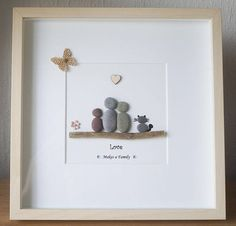 Pebble Art framed Picture Family with Cat Love makes a