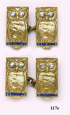 Sapphire, Diamond, 18K Gold & Platinum Owl Cufflinks. Handsome and wise & so Chi Omega maybe I should purchase them to replace my collection that was absconded by who knows who.