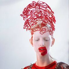 """Maison Margiela Artisanal by John Galliano, Fall 2016 show, Jessie Bloemendaal backstage, photographed by Karl Collins. Hair by Eugene Souleiman, Make-up by Pat McGrath. Source: Eugene Souleiman: """"The vision of other people never ceases to amaze and inspire me."""""""