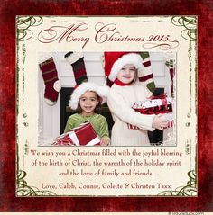 Merry Christmas Photo Card - Ivory Text Backdrop