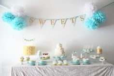 gold and tiffany blue sweet table
