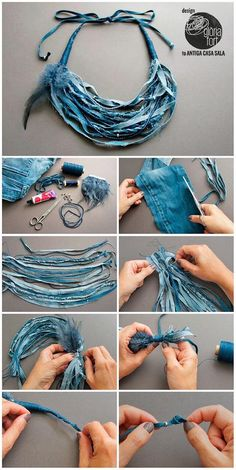 Denim DIY Necklace For Bohemian Look #Diynecklaces #Necklacetutorials #Necklaces