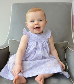 Handsmock Dress + Matching Bloomer Set in Chloe's Floral in Periwinkle