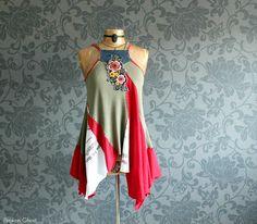 Upcycled Clothing Draped Tank Bohemian Chic by BrokenGhostClothing