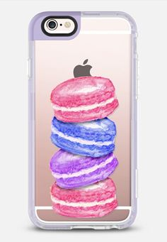 Pink Blue Purple Watercolor Painted Macaroon Cookies- Transparent iPhone 6s case by BlackStrawberry | Casetify