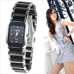 Genuine LongBo Quartz Watch Wrist Analog Watch Timepiece with Oblong Case & Ceramic Band & Rhinestones for Lady -Black Quartz Watch, Rhinestones, Ceramics, Watches, Band, Stuff To Buy, Nice, Women, Fashion