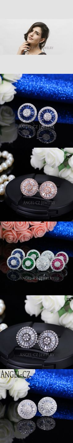ANGELCZ 6 Colors Options Sparkling Multi-shaped CZ Crystal Setting Korean Style Stud Earrings For Women Fashion Jewelry AE023