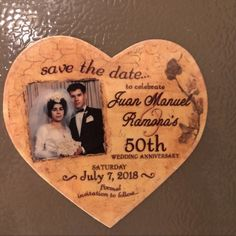 Announce your 50th Wedding Anniversary with our unique Romance Antique Heart Magnet from www.etsy.com/shop/BloomingInvitations