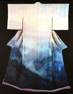 Kimono by Ityku Kuboty. Ityku has been transformated to the perception of a kimono. Kimonos are traditionally considered independent objec. Yukata Kimono, Kimono Dress, Japanese Outfits, Japanese Fashion, Japanese Clothing, Japanese Geisha, Japanese Art, Traditional Japanese Kimono, Traditional Dresses
