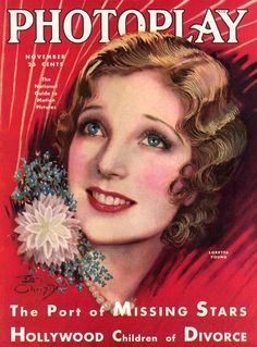 "Art from: Photoplay Portrait of Loretta Young, with a corsage on her right shoulder. Also, ""The Port of Missing Stars"" and ""Hollywood Children of Divorce."" Artist: Earl Christy Source: Charles Perrien Restoration by: Charles Perrien"