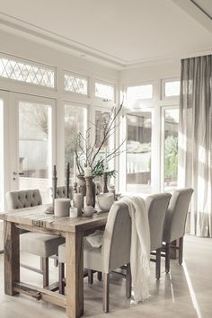Neutral Dining Room with Bright Natural Light