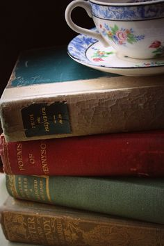 Vintage books and tea
