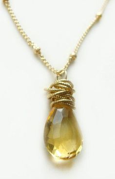 Tidal Necklace with Citrine Gold Textured Circles