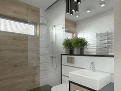 Small bathroom with shower frame - interior design examples Small Bathroom With Shower, Modern Bathroom Design, Bathroom Sets, Bathroom Designs, Small Bathroom Furniture, Bathroom Interior, Bathroom Trends, Bathroom Renovations, Glass Partition Wall