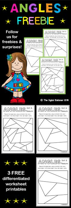 Angles - freebie - sort and measure education геометрия, мат Grade 6 Math, Fourth Grade Math, Math 5, Math Fractions, Grade 3, Second Grade, Math Activities, Teaching Resources, Geometry Activities