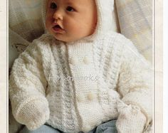 VINTAGE Baby Knitting PATTERN  Baby Dress and Coat 16 to 18