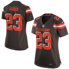 """$23.88 at """"MaryJersey""""(maryjerseyelway@gmail.com) Nike Browns 23 Joe Haden Brown Team Color Women Stitched NFL New Elite Jersey"""