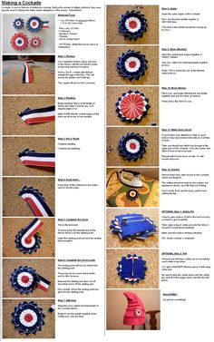 Cockade Tutorial by Gouachevalier on DeviantArt Ribbon Rosettes, Ribbon Art, Diy Ribbon, Ribbon Crafts, Fabric Crafts, Sewing Crafts, Paper Crafts, Craft Projects, Sewing Projects