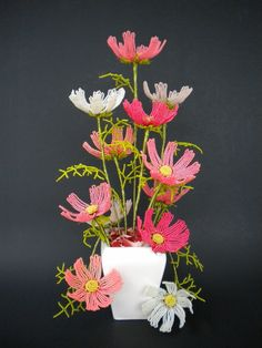 Cosmos - French Beaded Flowers. $110.00, via Etsy.